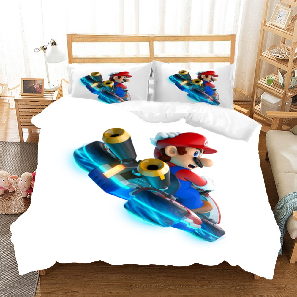 The adventures of super mario bros. Cartoon Super Mario Bedding Set 3d Print Game Character Comforter Set Duvet Cover Set Kids Gift Boys Home Decor Bed Linen Set Buy At The Price Of 6 11 In Aliexpress Com