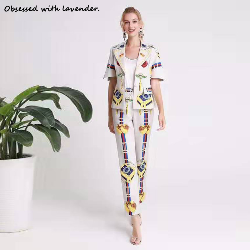 Obsessed With Lavender.Fashion Suit Printed Autumn Women's Lapel Short Sleeve Trousers White Summer