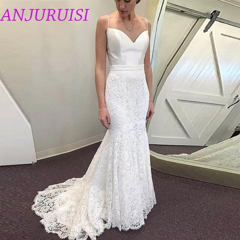 Anjuruisi White Lace Mermaid Wedding Dresses 2020 Spaghetti Straps Beach Bride Dress Cheap Wedding Gowns Simple Vestido De Novia Wedding Dresses Aliexpress,Outdoor Wedding Fall Wedding Guest Dresses 2020