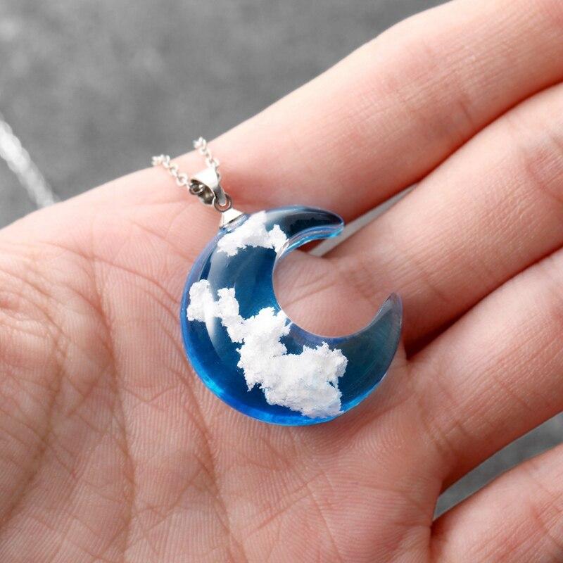 Pure Blue Sky & Clouds Pendant Necklace - novariancreations.com