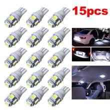 15 Uds coche LED T10 W5W 5050 5SMD lectura cúpula lámpara 168 de 194 de 192 DC 12V bombilla para placa de matrícula marcador Luz de cuña blanco