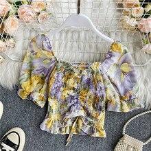 Boho floral print Slim elastic ruffles summer short T-Shirt Women drawstring Top