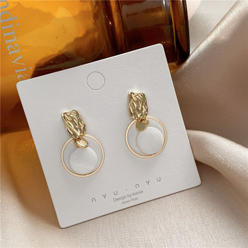 Shamir Korea Temperament Contracted Circle Shell Earring Female Personality Sweet Girl Earrings Jewelry Gifts image