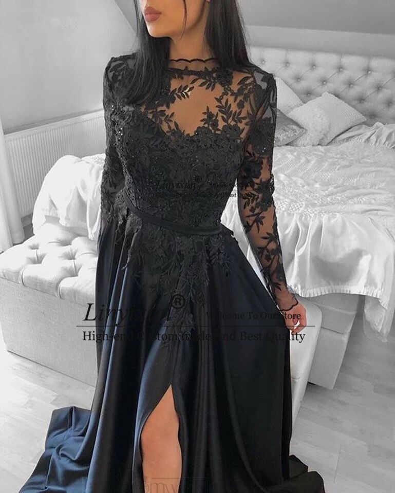 Новинка 2020, черные платья для выпускного вечера, длинные рукава, с высокой горловиной, Аппликация из бисера, спилок, атласное платье с коротким шлейфом, длинное вечернее платье