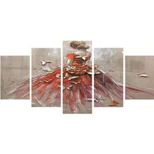 DIY Diamond Embroidery Red Dress Girl Multi Collages Needlework Butterfly Painting Cross Stitch For Living Room 5pcs