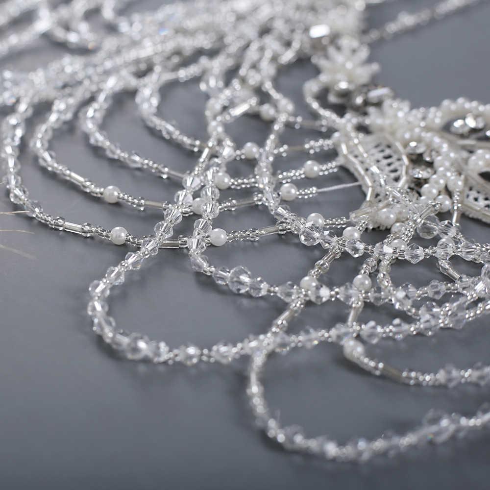 TRiXY G13 פרח חתונה נוצצת שמלת כלה לעטוף אלגנטי צעיף חתונת קייפ נשים אירוע מיוחד צעיף הכלה קייפ