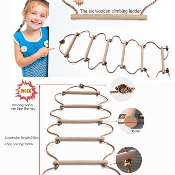Drewniany szczebel drabina linowa dzieci trening wspinaczka kryty odkryty przedszkole Kid Sport lina huśtawka bezpieczna Fitness drabina wspinaczkowa tanie i dobre opinie tp-88-66 aeeorted