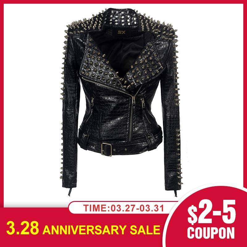Faux Leather PU Jacket Punk Rivet Gothic Women New Fashion Winter Autumn Motorcycle Jacket Black Faux Leather Coat Outerwear