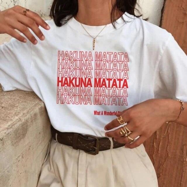 Women Hakuna Funny T Shirt 2020 Ulzzang Femme Vintage Harajuku Tshirt 90s Graphic T-shirt,Drop Ship(China)