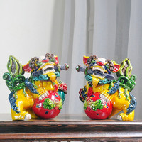 2Pcs/set Chinese Style Colors Brave Troops Art Sculpture Ceramic Lucky Lion Figurines Statue Feng Shui Home Decoration R4188