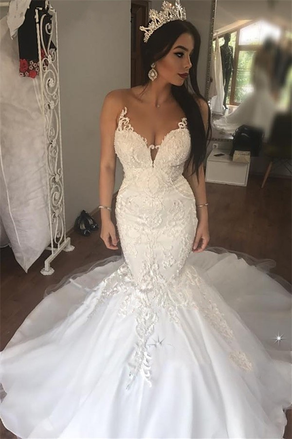 Vintage Lace Mermaid African Wedding Dress 2020 Illusion V-Neck Appliques Elegant White Bride Dresses Court Train Wedding Gowns