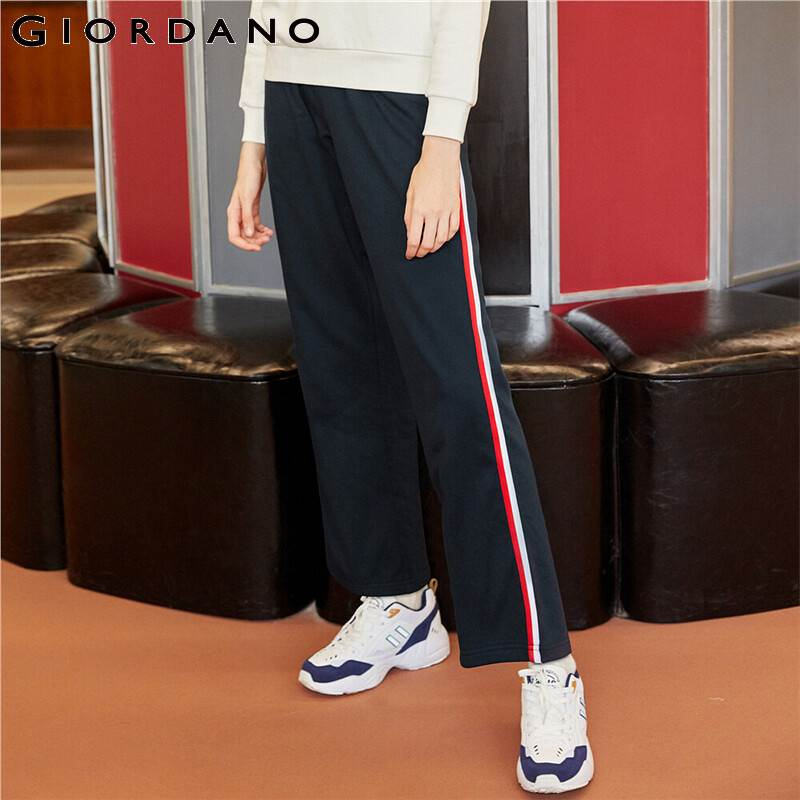 Giordano Women Pants Contrast Color Wide-leg Khakis Casual Pants Middle Waist Long Pantalones De Mujer 05419098