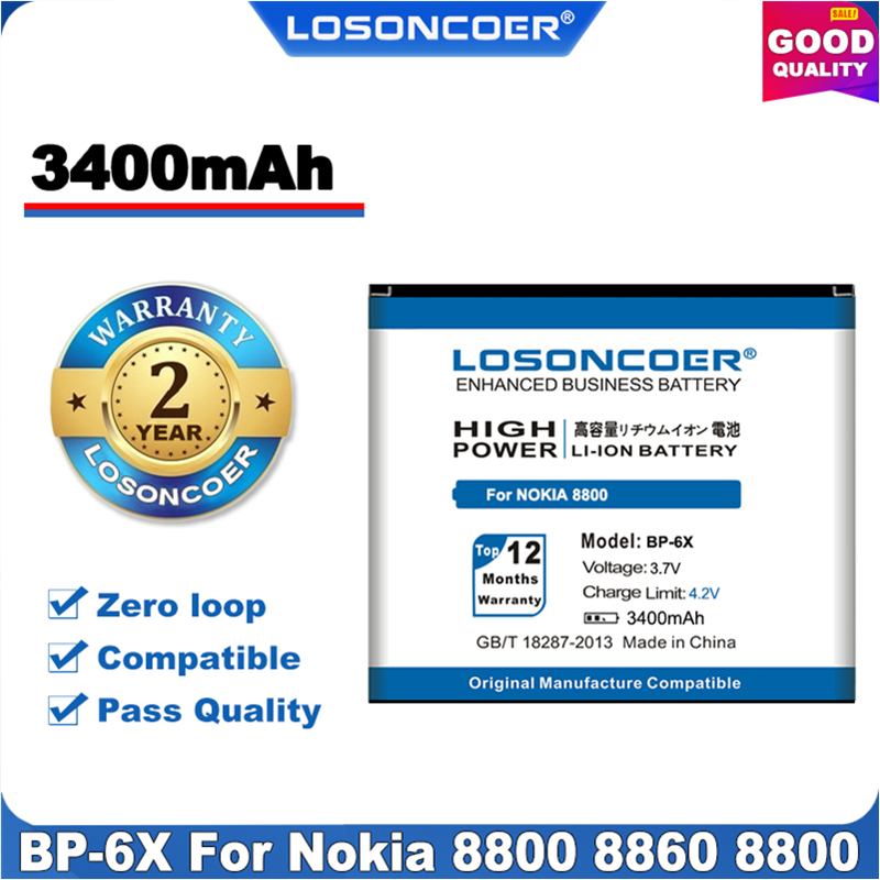 100% Original LOSONCOER 3400mAh BL-5X BP-6X Battery for Nokia 8800 8860 8800 Sirocco N73i 8801 886 8800s Etc+in Stock(China)