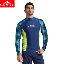 SBART 2019 new long sleeves swimwear rashguard surf clothing diving suits shirt swim suit spearfishing kitesurf men rash guard