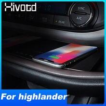 Cargador inalámbrico QI para coche Toyota Highlander 2019, accesorios, placa de carga de teléfono de 15W, modificación Interior, 2018 -2015