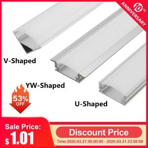 CLAITE 30cm 45cm 50cm U V YW Three Style Aluminium Channel Holder for LED Strip Light Bar Under Cabinet Lamp Kitchen 1.8cm Wide