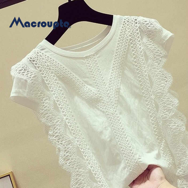 Women Sweet Lace Crop Top Sleeveless O Neck Transparent Blouse Female Hollow Out Short Stylish Shirts Blusas