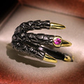 Hip Hop Black-Gold Eagle Claw Ring for Men Women Vintage Gothic Zircon Demon Rings Jewelry Rock Punk Gift For Party