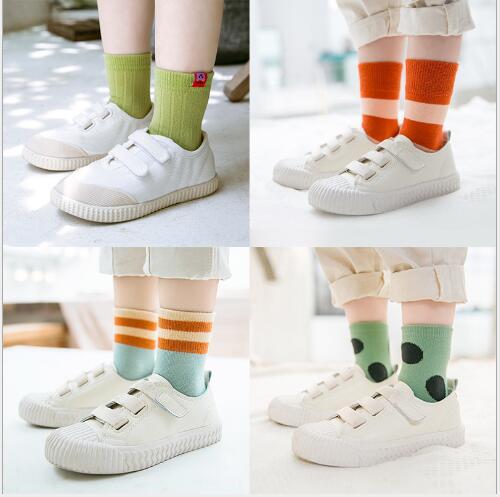 1-12 Year 5 pairs pack children's socks autumn new embroidery cartoon animal stripe student sport cotton kids boys girls socks 1