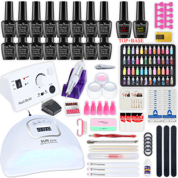 Manicure Set Acrylic Nail Kit With Nail Dryer and electric nail drill Machine Nail Art Decoration Gel Nail Polish For Manicure