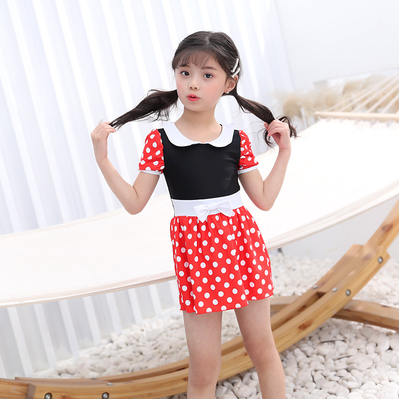 2019 New Style KID'S Swimwear GIRL'S Child Dotted Pleated Playful Bow Swimming Suit Women's A Generation Of Fat