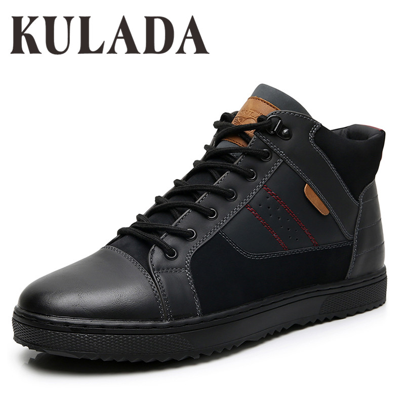 KULADA New Boots Men Winter Snow Boots Men Outdoor Activity Sneakers Boots Warm Lace Up High Top Fashion Shoes Men Winter Shoes