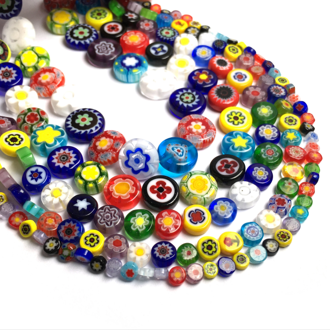 Millefiori Flower Lampwork Glass Beads Oblate Loose Spacer Beads for Jewelry Making Crafts Beacelet DIY Necklace Accessories(China)