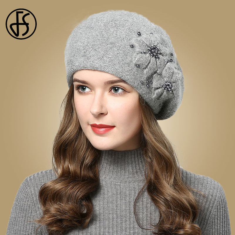 FS Autumn Winter Hats For Women Beanies With Rhinestones Flowers Rabbit Fur Caps Womens Knitted Hat Thicken Warm Cap