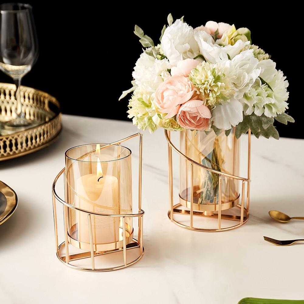 Golden Metal Candle Holder Multifunctional Glass Vase Glass Candle Holder  4