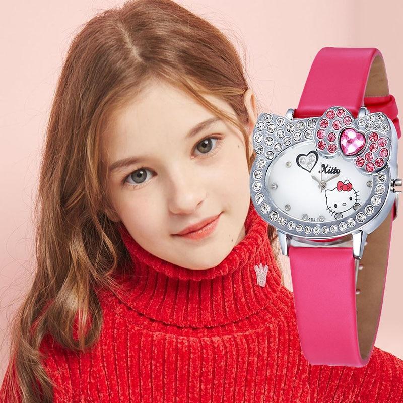 Hello Kitty Kids Watches Cartoon Children Watches For Girls Cute Rhinestone Quartz Clock Relogio Infantil Menina Prova Dagua