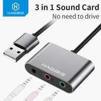Hagibis External Sound Card Converter Splitter USB Adapter 3 Port Converter Headphone Microphone for PC Laptop Audio adapter