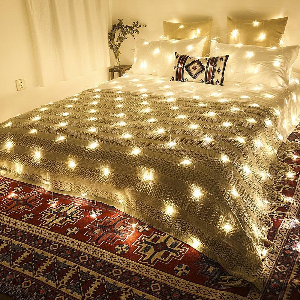 Netlike LED Curtain Decorative Lights 3x2 200leds Fairy Garland String Light Window Christmas Wedding Party Holiday Lighting JQ