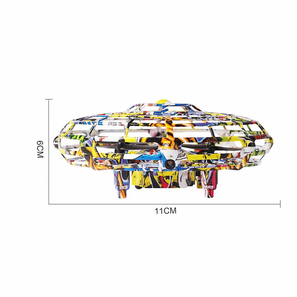 طائرة صغيرة بدون طيار UFO أطفال اللعب المضادة للتصادم الاستشعار التعريفي Rc مايكرو هليكوبتر اليد التي تسيطر عليها ارتفاع عقد وضع لعب للأطفال
