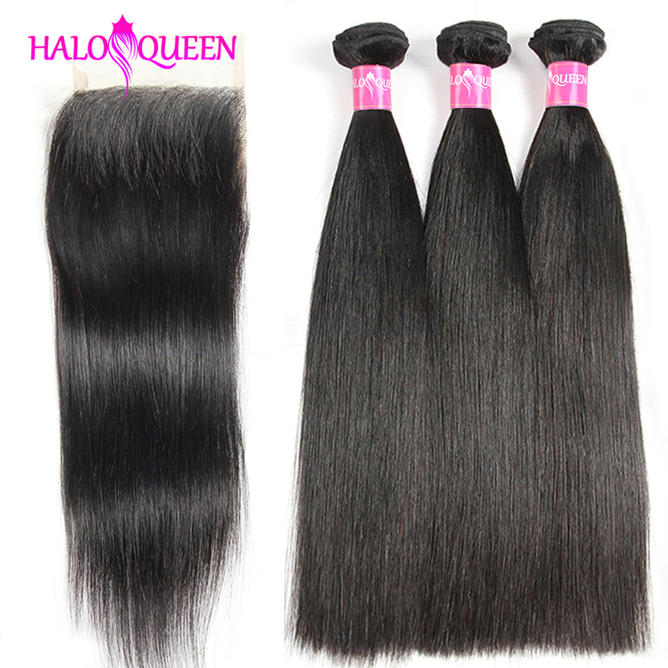 HALOQUEEN Straight Bundles With Closure Brazilian Hair Weave Bundles With Closure Human Hair Bundles With Closure Non-Remy Hair