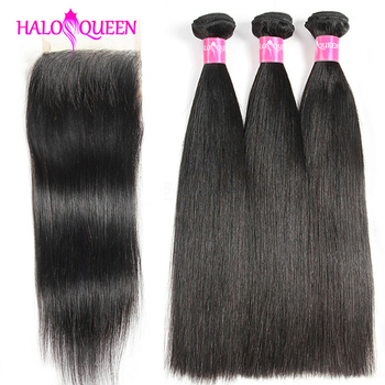 HALOQUEEN Straight Bundles With Closure Brazilian Hair Weave Bundles With Closure Human Hair Bundles With Closure Non-Remy Hair 1b 99j burgundy human hair bundles with closure kemy hair brazilian straight hair weave bundles with closure 4x4 non remy hair
