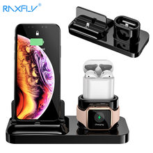 RAXFLY 3in1 estación de carga para iphone 11 Pro Max XR QI soporte de cargador de teléfono inalámbrico para Apple Watch Airpods base sostén(China)