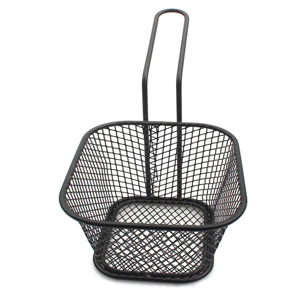 French Fries Basket Metal Black Spray Paint Small Food Basket Fried Chicken Wings Snack Mesh Sieve Basket 1 Set