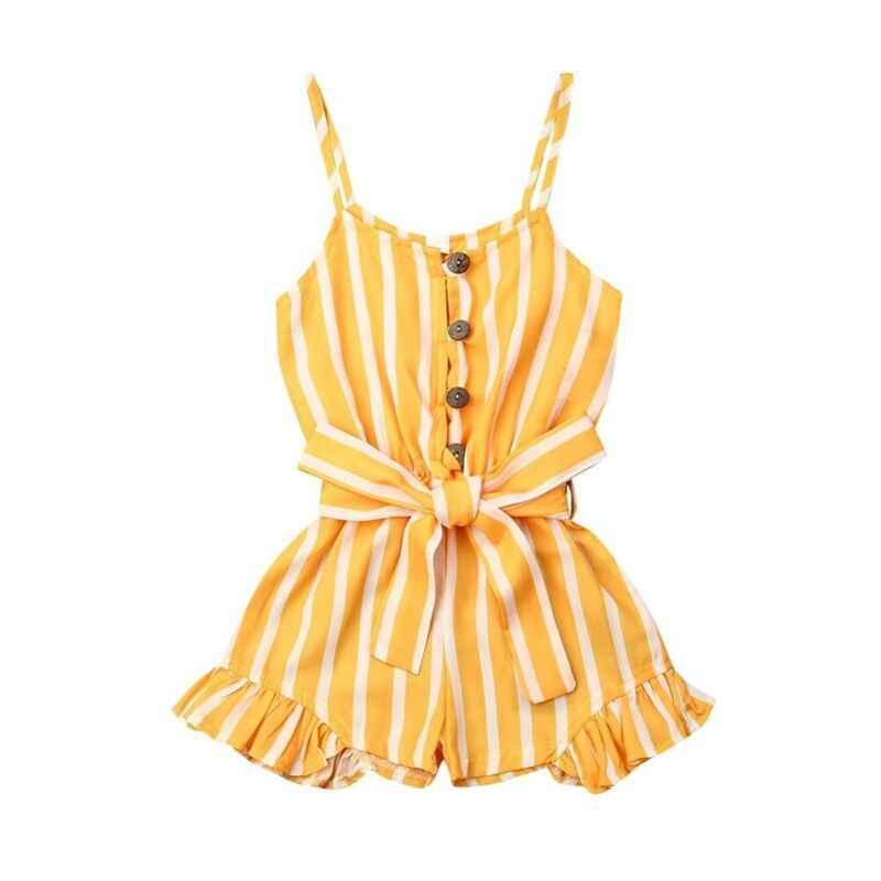 Małe dziewczynki kombinezony paski body dzieci maluch dziewczynka body Romper kombinezon Playsuit Sunsuit ubrania zestaw 3-7Y