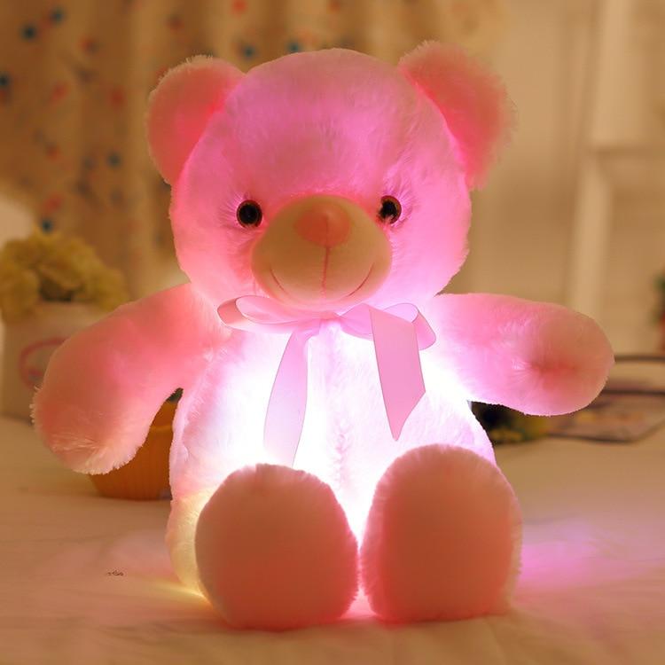 50cm Teddy Bear Plush Light Bear Plush LED Stuffed Animals Soft Toys Light Colorful Glowing Christmas Gift for Kid Plush Pillow