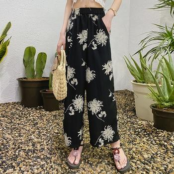 цена на Retro printed bohemian wide-leg pants elastic waist pants 2020 new large size casual draped floral wide-leg pants