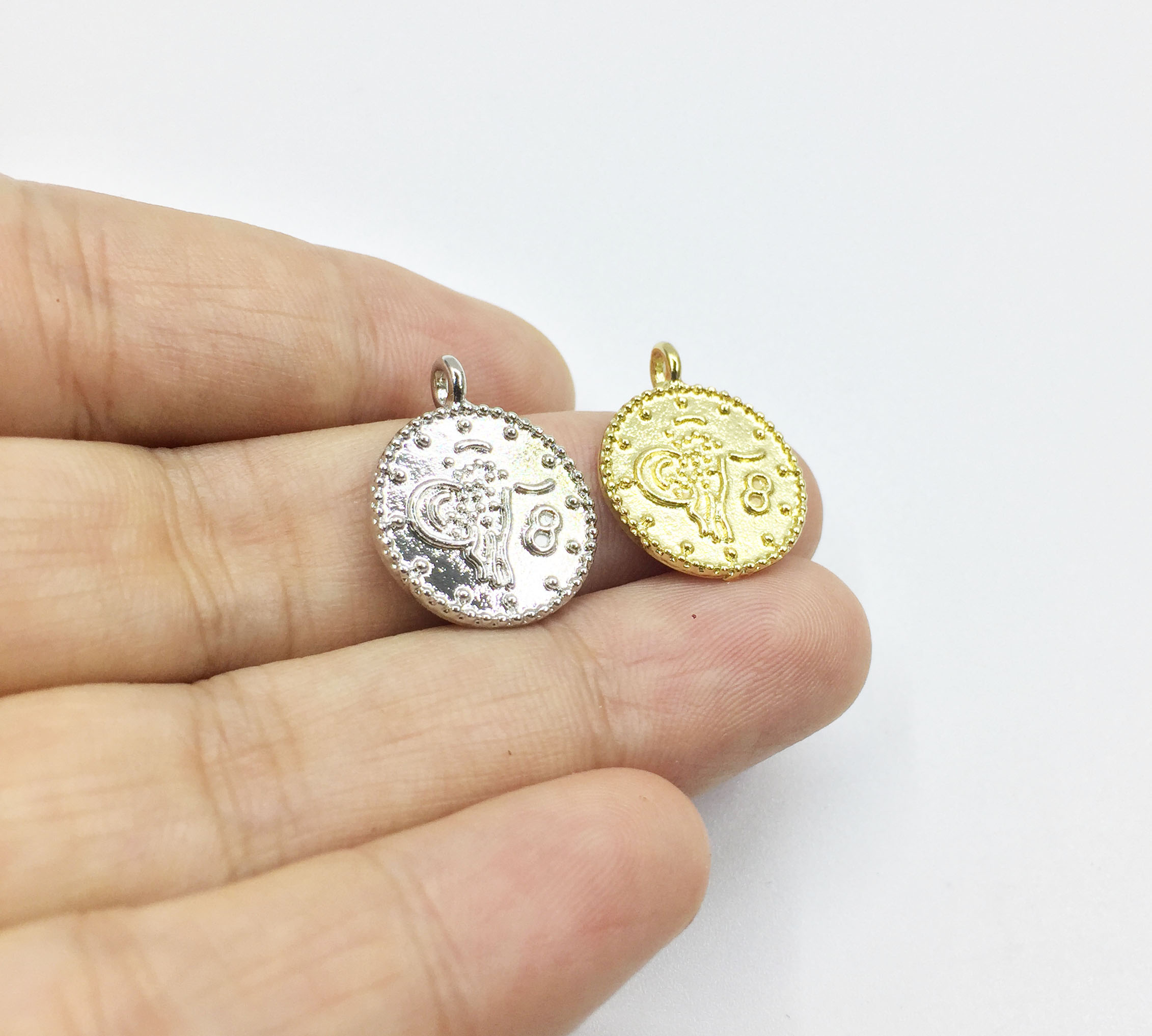 Eruifa Jewelry Necklace Charms-Pendant Coin Symbol Zinc-Alloy Gold/silver-Plated 20pcs