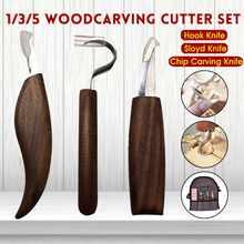 El más nuevo juego de 1/3/5 Uds Cuchilla de talla de madera cincel cortador de carpintería herramienta de mano pelado tallado en madera cuchara escultórica cortador para esculpir
