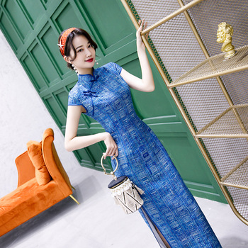 Cheongsam largo clásico para mujer, Sexy, ajustado, chino, cuello mao tradicional, novedad, Qipao Vintage, botón, elegantes, Vestidos 3XL