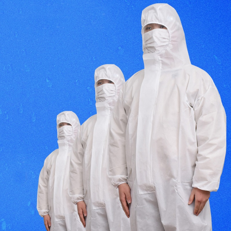 White Prevent Bacterial Virus Disposable Workwear Waterproof Oil-Resistant Coverall For Workshop Technology Clothes Overall Suit
