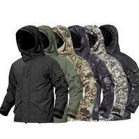 Homens 3 em 1 jaqueta de caminhada tático ao ar livre térmica hoodie windbreakers homem camuflagem uniforme militar à prova dwaterproof água caça