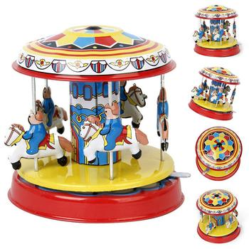 1PC Vintage Wind up Clockwork Carousel Rotating Art Crafts Collectible Toy Puzzles Assembly Model Gift For Kids