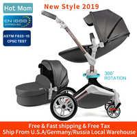 Cochecito de bebé mamá caliente 3 en 1 Sistema de viaje con asiento de coche cuna y función de rotación 360 °, cochecito de lujo F023