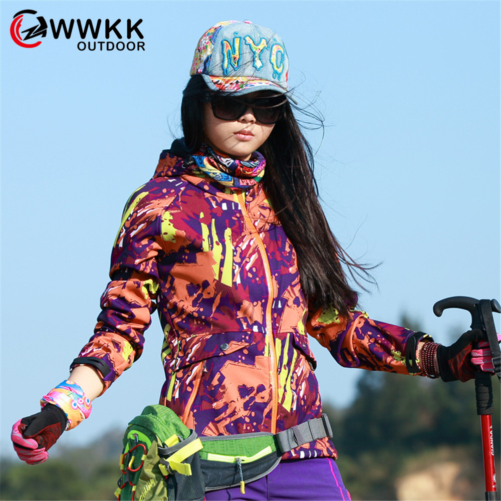 WWKK 2019 Camouflage Fashion Women Hiking Jacket Waterproof New Breathable Protection Coats Outdoor Sport Hoodies Zipper Jackets