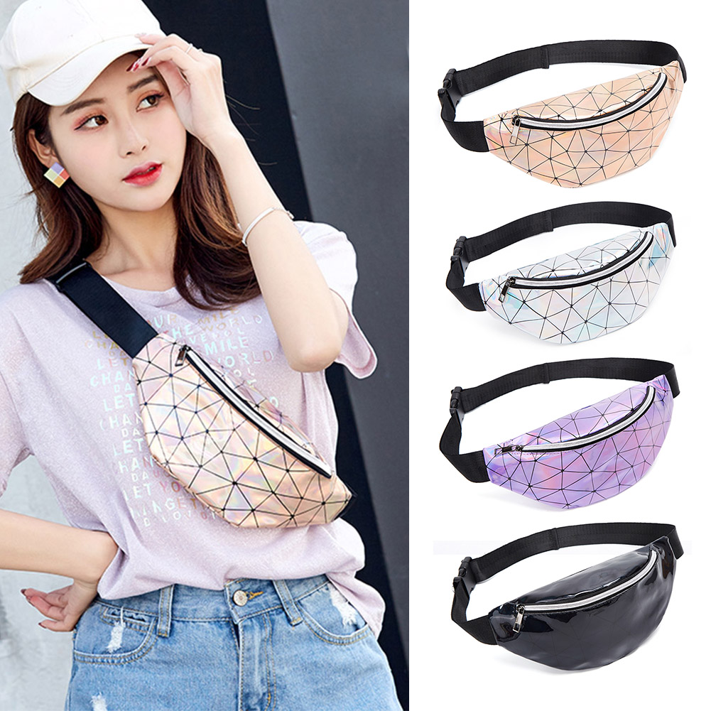 Women Shining Bling Fanny Belt Packs Female Geometric Holographic Waist Bags Ladies Girls Solid Chest Phone Pouch Purse Bag