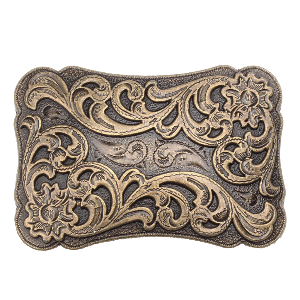 Decorative Pattern Vintage Western Cowboy Belt Buckle Large Fit Leather Belt Rectangular Belt Buckle